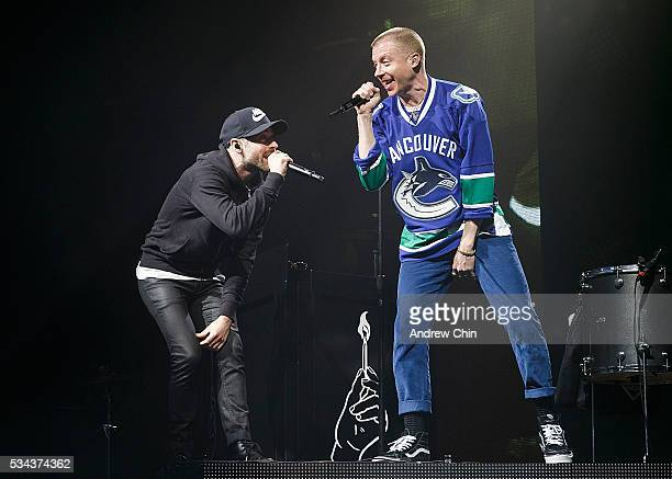 American hiphop duo Macklemore and Ryan Lewis perform onstage during their North American 'The Unruly Mess I've Made' world tour at PNE Forum on May...