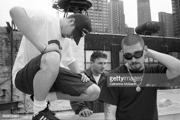 American hiphop group House of Pain LR Danny Boy DJ Lethal and Everlast pose for a portrait in August 1992 in New York City New York