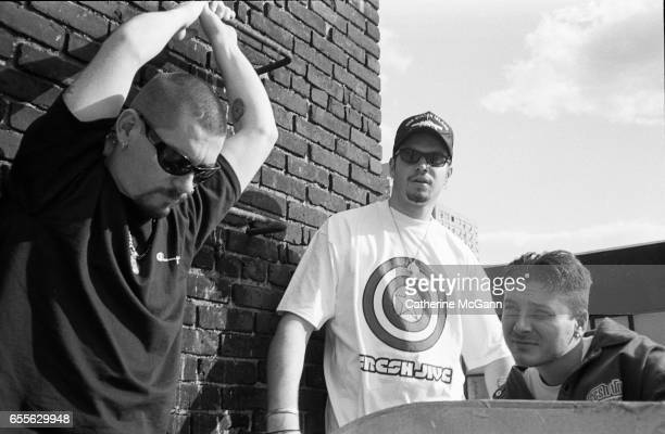 American hiphop group House of Pain LR Everlast Danny Boy and DJ Lethal pose for a portrait in August 1992 in New York City New York
