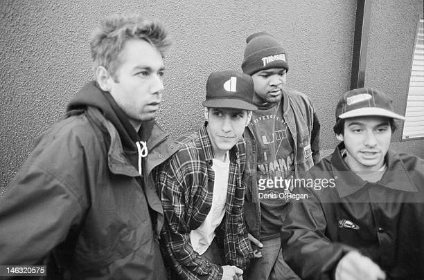 American hiphop group the Beastie Boys at the Reading Festival 30th August 1992 Left to right Michael 'Mike D' Diamond Adam 'MCA' Yauch unknown and...