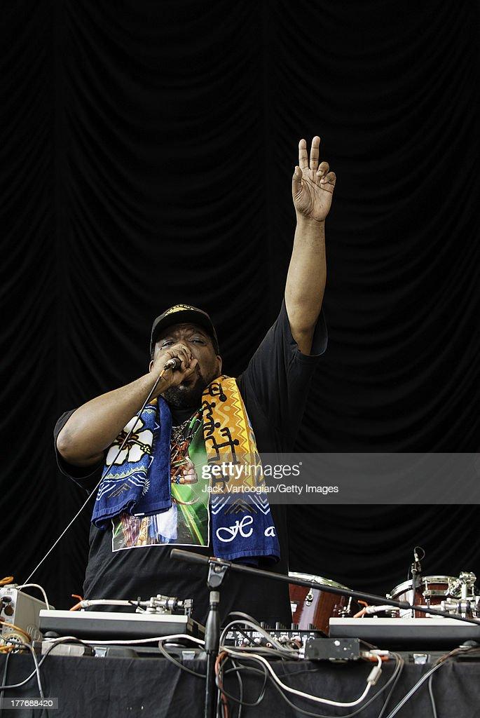 American Hip-Hop producer and DJ Afrika Bambaataa performs