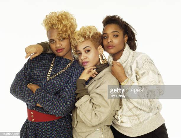 American hiphop trio SaltnPepa circa 1987 They are Cheryl 'Salt' James Sandra 'Pepa' Denton and DJ Spinderella