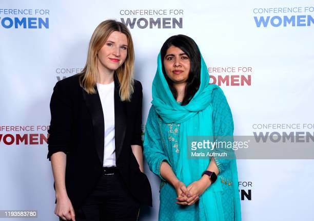 American historian and writer Tara Westover, Co-founder of Malala Fund and a Nobel Laureate Malala Yousafzai pose for a photo backstage during...