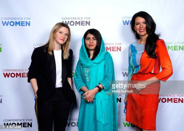 American historian and writer Tara Westover, Co-founder of Malala Fund and a Nobel Laureate Malala Yousafzai and Linda Henry pose for a photo...