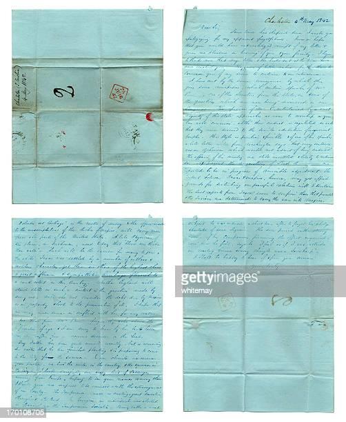 história americana-por escrito carta desde 1842 - marca postal - fotografias e filmes do acervo