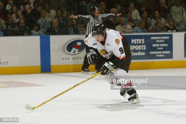 American hockey player Bobby Ryan of the Owen Sound Attack in action against the London Knights at the John Labatt Centre London Ontario October 15...
