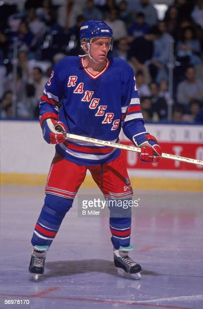 American hockey player Brian Leetch of the New York Rangers skates on the ice during a road game December 1992