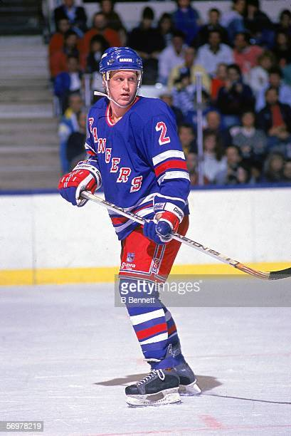 American hockey player Brian Leetch of the New York Rangers skates on the ice during a road game, November 1988.