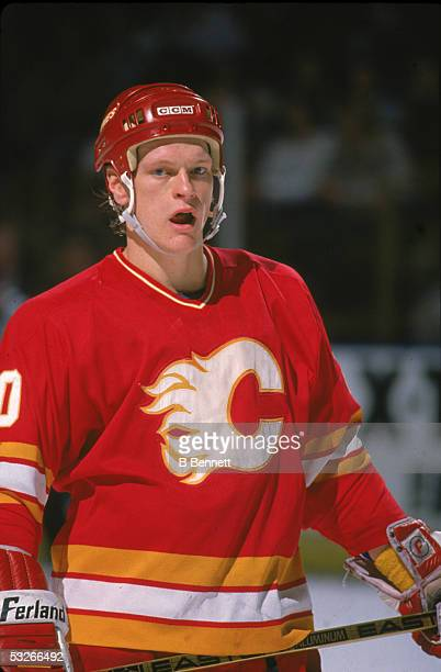 American hockey player Gary Suter of the Calgary Flames on the ice during a game 1990
