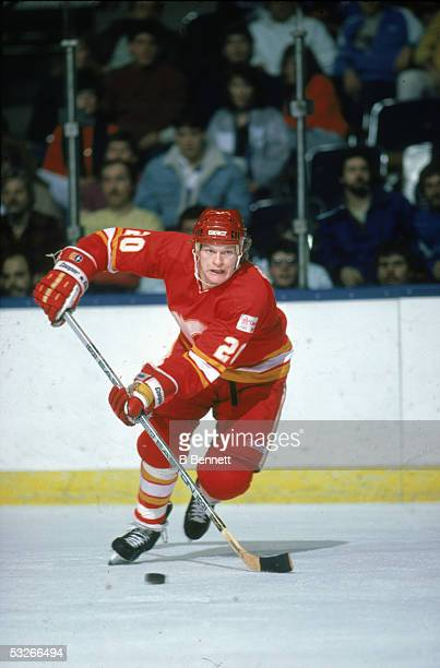 American hockey player Gary Suter of the Calgary Flames skates with the puck during a game 1988