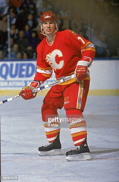 American hockey player Joe Mullen of the Calgary Flames on the ice during a game March 1990