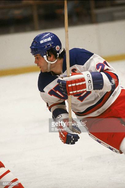 American hockey player Mike Eruzione of Team USA skates on the ice during an 1980 exhibition game against the Soviet Union on February 9 1980 at the...