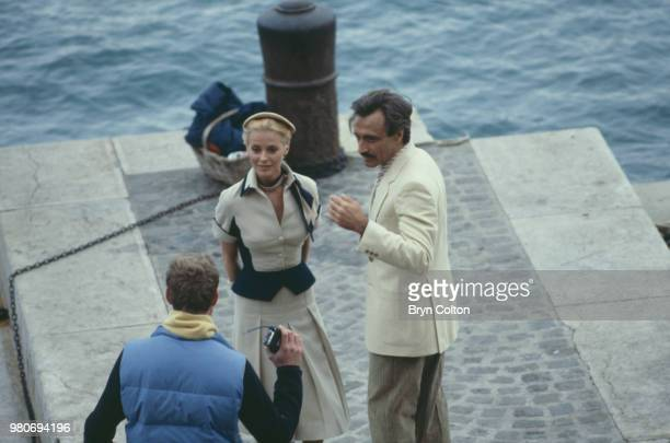 American Hollywood actress Cheryl Ladd playing Grace Kelly and actor Alejandro Rey playing Oleg Cassini as they discuss a scene from television movie...
