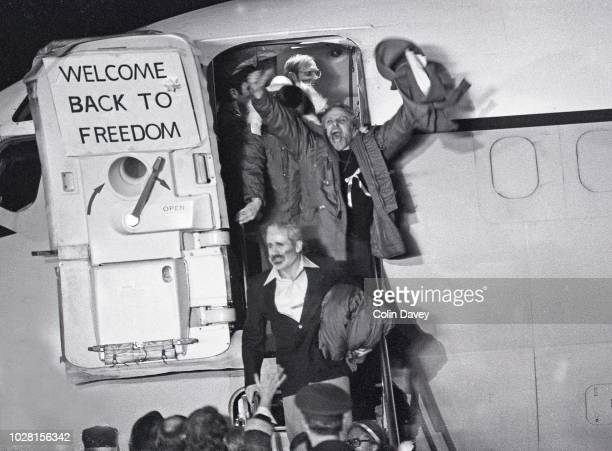 American hostages arrive at Wiesbaden Air Base in West Germany after being released from the US Embassy in Iran, January 20, 1981. They had been held...