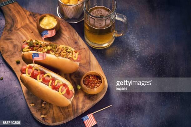 Amerikanische Hotdog für 4. Juli