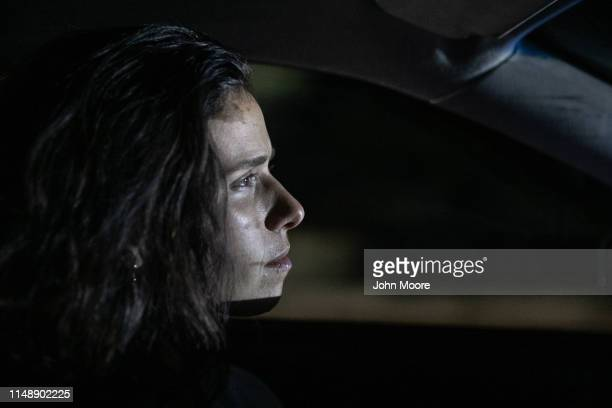 American human rights activist Ana Adlerstein drives towards a US Border Patrol checkpoint near Why Arizona on May 9 2019 after teaching immigrants...