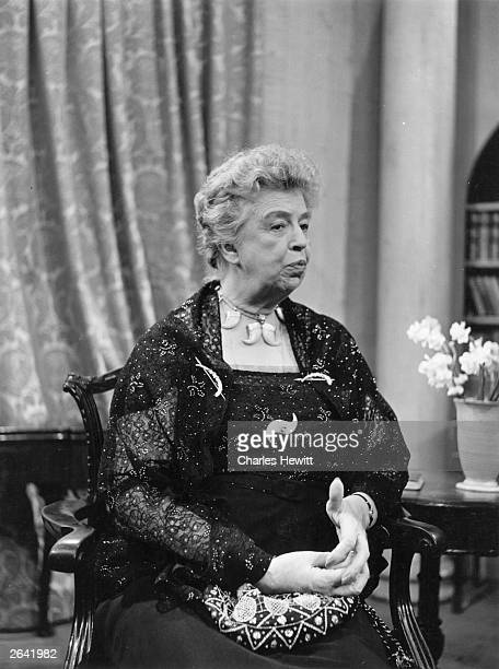 American humanitarian and widow of President Franklin Delano Roosevelt Eleanor Roosevelt at Lime Grove Television studios in London as chairman of...