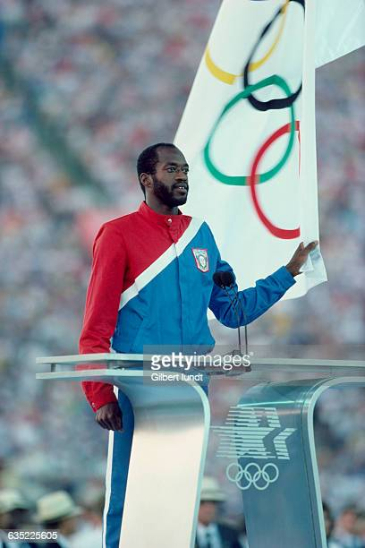 American hurdler Edwin Moses receiving the Athlete's Olympic Oath during the opening ceremony of the 1984 Summer Olympics