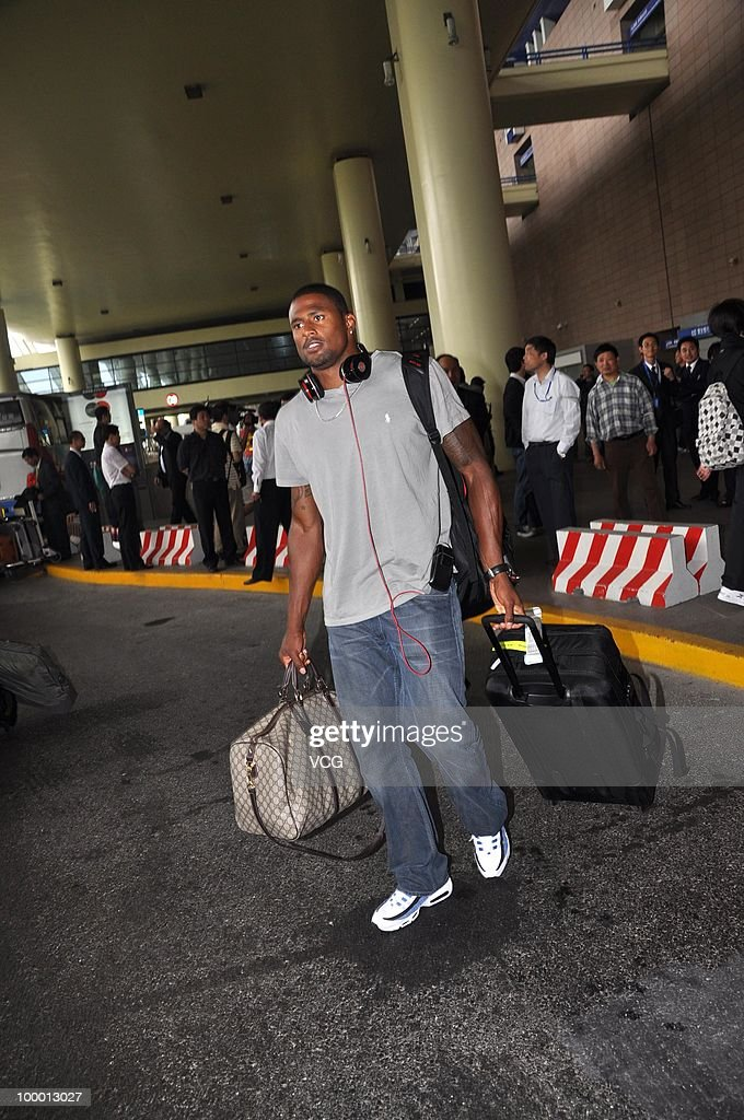 American hurdling athlete David Oliver arrives at Shanghai Pudong airport for the IAAF Diamond League Shanghai on May 20, 2010 in Shanghai, China.