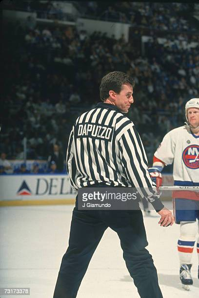 American ice hockey linesman Pat Dapuzzo during a game involving the New York Islanders September 1993