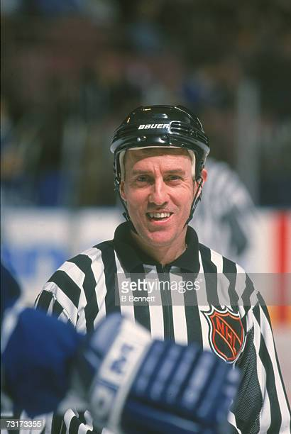 American ice hockey linesman Pat Dapuzzo on the ice during a game December 2001