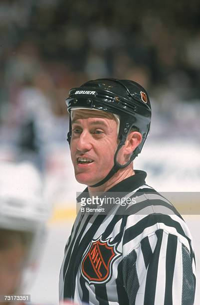 American ice hockey linesman Pat Dapuzzo on the ice early 2000s