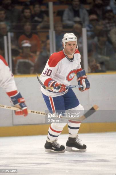 American ice hockey player Chris Nilan of the Montreal Canadiens on the ice during a game January 1986
