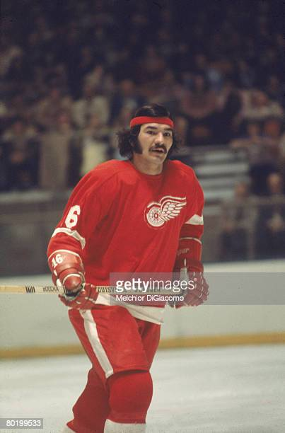 American ice hockey player Henry Boucha of the Detroit Red Wings skates on the ice during a game early to mid 1970s