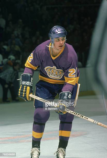 American ice hockey player Steve Jensen of the Los Angeles Kings on the ice during a game December 1978