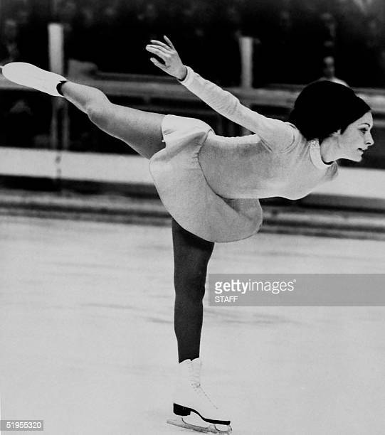 American ice skater Peggy Fleming performs her routine during the free program event 11 February 1968 in Grenoble at the Winter Olympic Games Fleming...