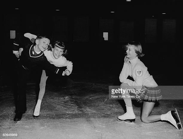 American ice skaters the Heiss siblings practice on the rink at Iceland New York New York January 18 1954 They are from left Bruce Nancy and Carol...
