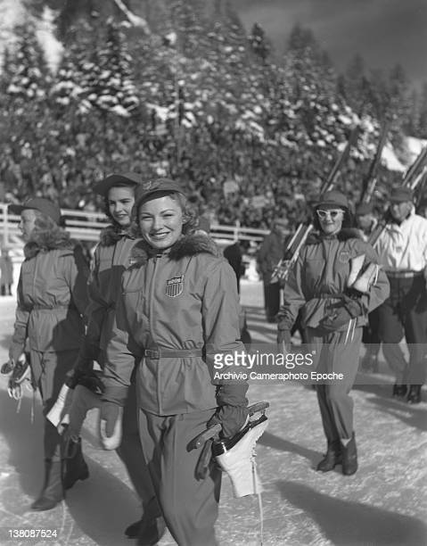 American iceskaters women parading at the Olympic Games in St Moritz 1950s
