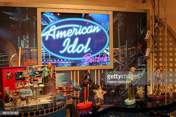 American Idol Barbie Display at Fantasia Barrino American Idol Winner 2004 shares audition tips with Barbie at Mattel Showroom on February 17 2005 in...