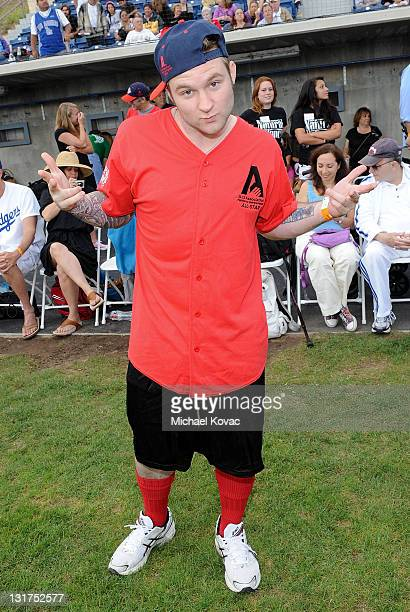 American Idol Blake Lewis participates in Steve Garvey's Celebrity Softball Game for ALS at Pepperdine University on July 10 2010 in Malibu California