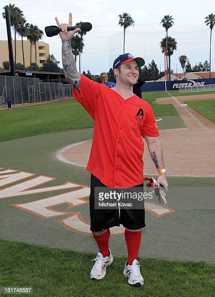 American Idol Blake Lewis performs a beatbox version of 'America the Beautiful' at Steve Garvey's Celebrity Softball Game for ALS at Pepperdine...