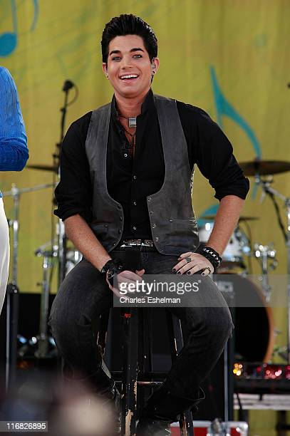 'American Idol' contestant Adam Lambert performs on ABC's 'Good Morning America' at Rumsey Playfield Central Park on August 7 2009 in New York City