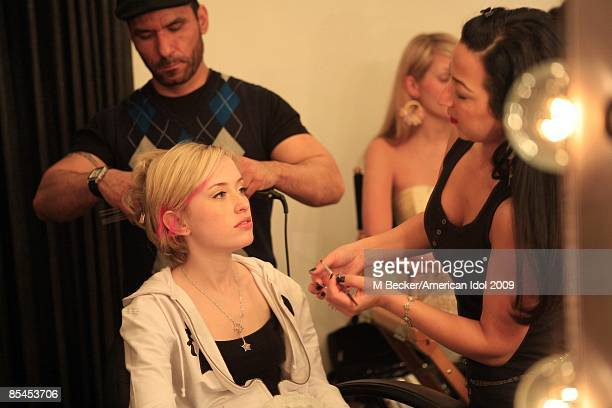 ACCESS***American Idol contestant Alexis Grace poses behind the scenes during the Top 13 Gallery portrait session on March 7 2009 in Hollywood...
