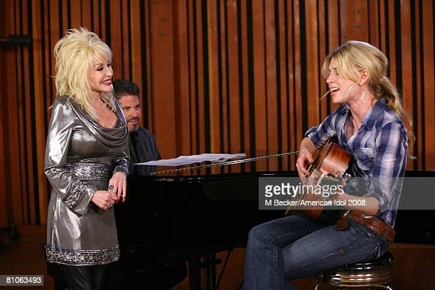 American Idol contestant Brooke White rehearses in the studio with country singer Dolly Parton on March 29, 2008 in Los Angeles, California.