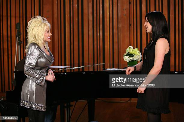 American Idol contestant Carly Smithson rehearses in the studio with country singer Dolly Parton on March 29, 2008 in Los Angeles, California.