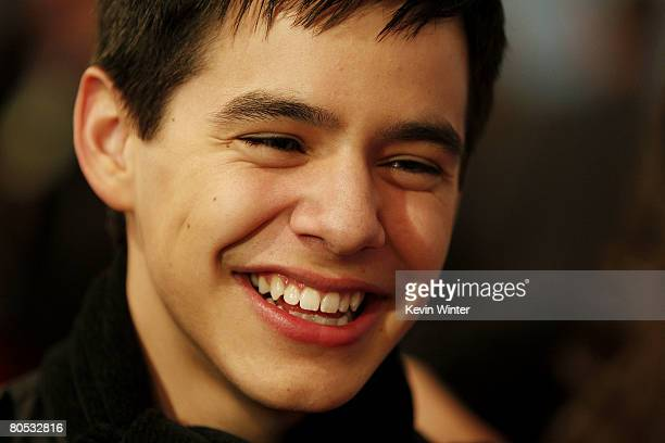 American Idol contestant David Archuleta attends the American Idol Top 12 Party at the Pacific Design Center on March 6 2008 in West Hollywood...