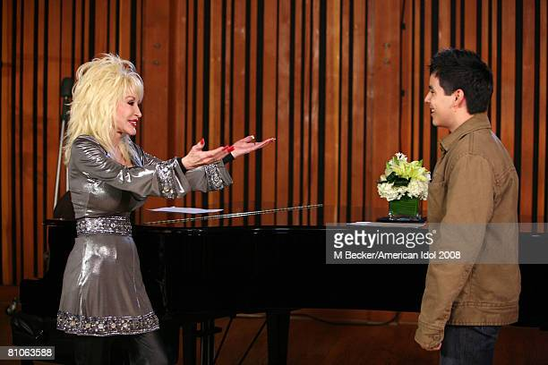 American Idol contestant David Archuleta rehearses in the studio with country singer Dolly Parton on March 29, 2008 in Los Angeles, California.