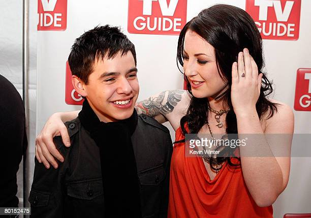 American Idol contestant David Archuleta stands with fellow contestant Carly Smithson as they attend the American Idol Top 12 Party at the Pacific...