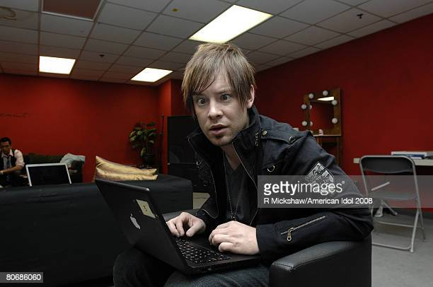 ACCESS*** American Idol Contestant David Cook poses for pictures behind the scenes on March 11 2008 in Los Angeles California Before the top 12...