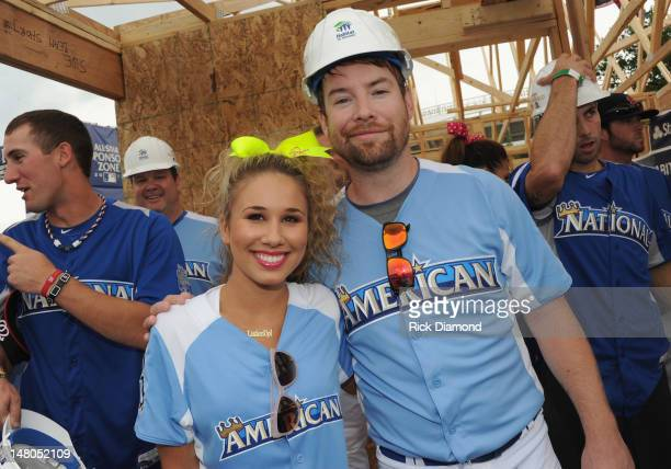 American Idol contestant Haley Reinhart and American Idol winner David Cook attend the 2012 Taco Bell AllStar Legends Celebrity Softball Game at...