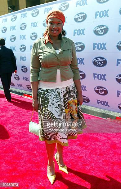 American Idol contestant Jennifer Hudson arrives at the American Idol Finale Results Show held at the Kodak Theatre on May 25 2005 in Hollywood...