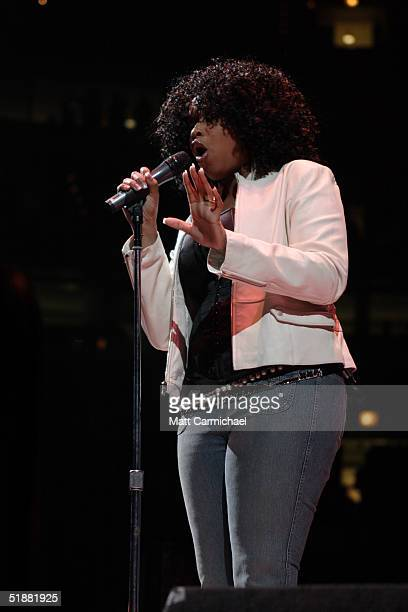 American Idol contestant Jennifer Hudson performs as part of WGCI FM's annual Big Jam concert at the United Center December 17 2004 in Chicago