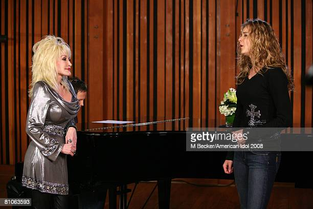 American Idol contestant Kristy Lee Cook rehearses in the studio with country singer Dolly Parton on March 29, 2008 in Los Angeles, California.