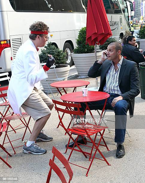 American Idol Contestant Norman Gentle aka Nick Mitchell and Nigel Barker shoot the Brit Slap music video>> in Times Square on April 1 2010 in New...