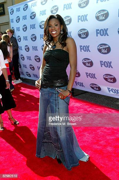 American Idol contestant Vonzell Solomon arrives at the American Idol Finale Results Show held at the Kodak Theatre on May 25 2005 in Hollywood...