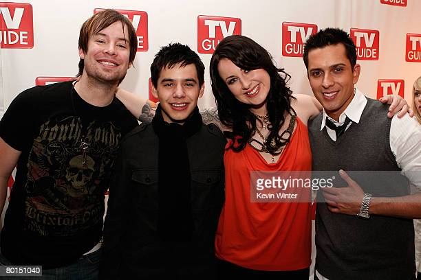 American Idol contestants David Cook David Archuleta Carly Smithson and David Hernandez attend the American Idol Top 12 Party at the Pacific Design...